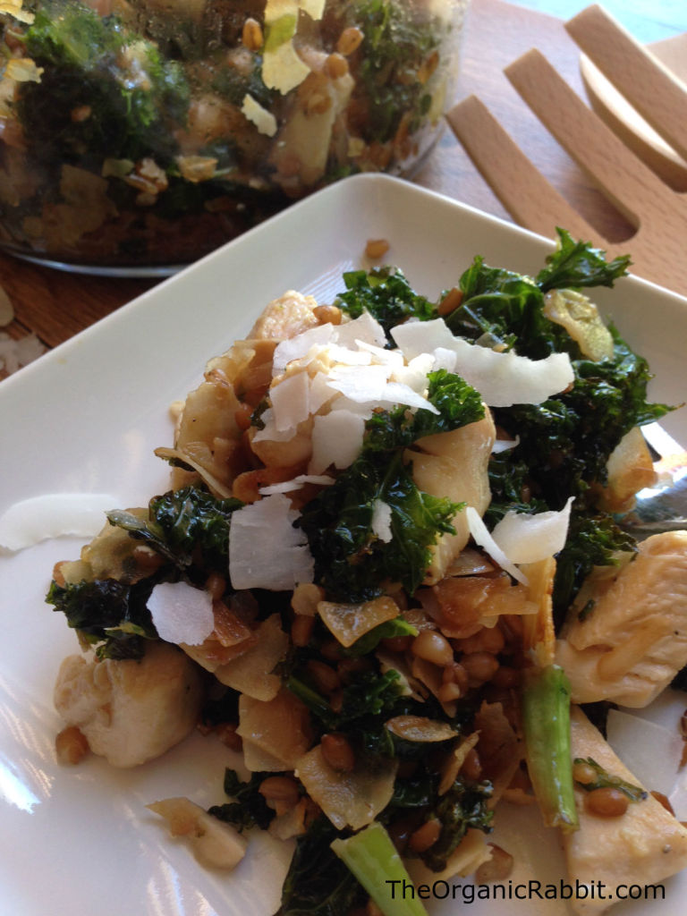 Warm Chicken Kale Coconut Wheat Berry Salad protein fiber paleo